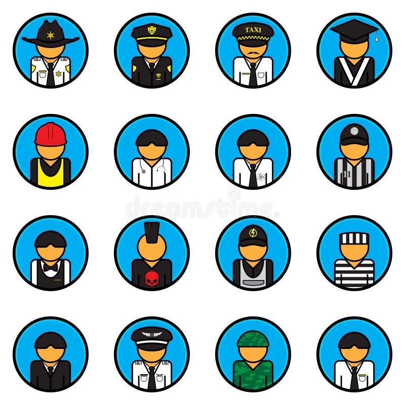 Insieme di vettore delle icone di professione avatar Simbolo del carattere Stile piano Per il web ed il cellulare royalty illustrazione gratis