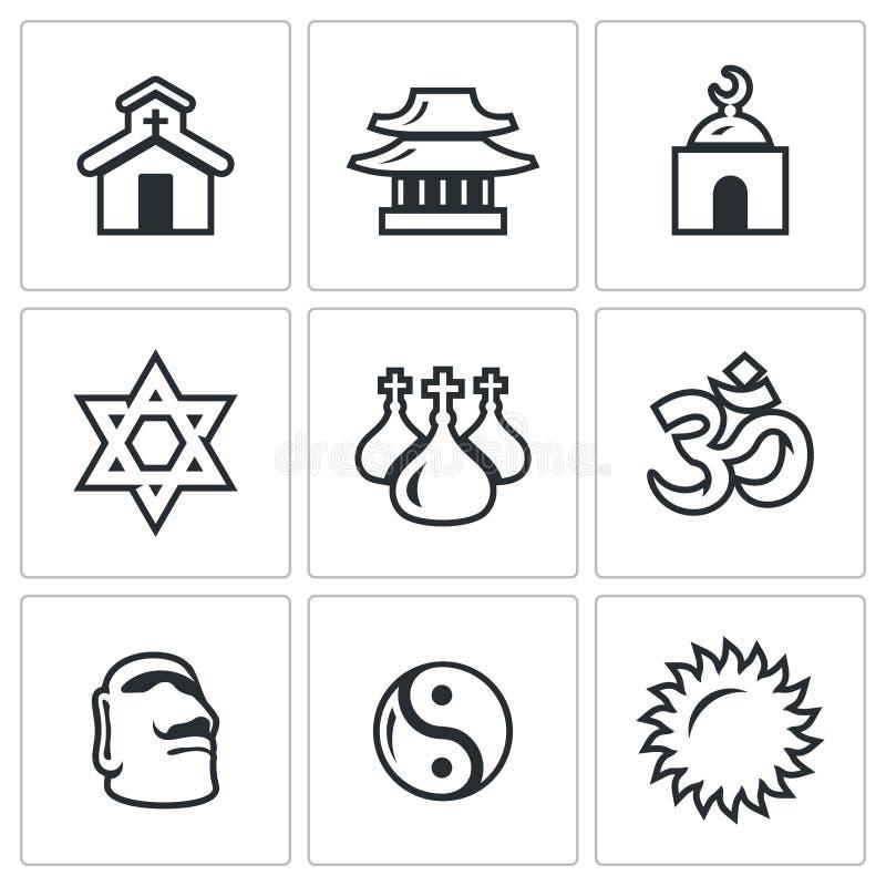 Insieme di vettore delle icone di religione cattolico royalty illustrazione gratis