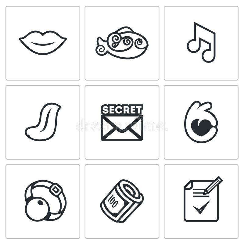 Insieme di vettore delle icone di silenzio illustrazione vettoriale