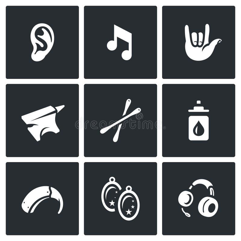 Insieme di vettore delle icone di sordità illustrazione di stock