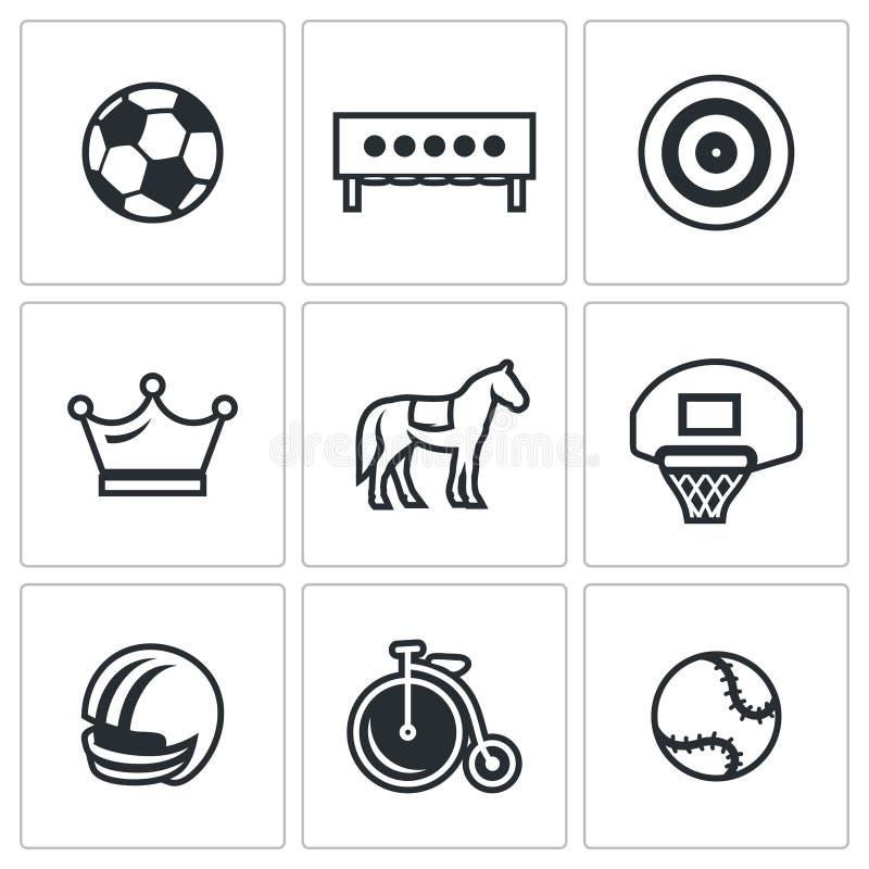 Insieme di vettore delle icone di sport Calcio, biathlon, tiro con l'arco, scacchi, saltanti, pallacanestro, calcio, ciclante, te illustrazione vettoriale