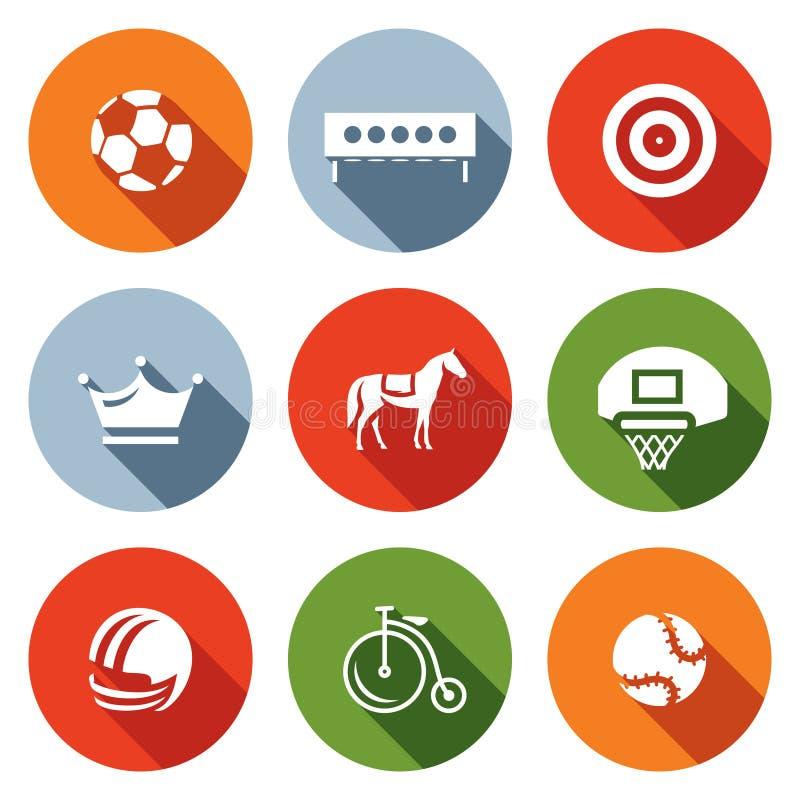 Insieme di vettore delle icone di sport Calcio, biathlon, tiro con l'arco, scacchi, saltanti, pallacanestro, calcio, ciclante, te royalty illustrazione gratis
