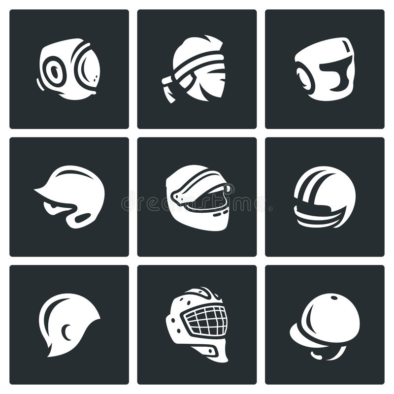 Insieme di vettore delle icone di sport cappello, del cappuccio e della fascia illustrazione vettoriale