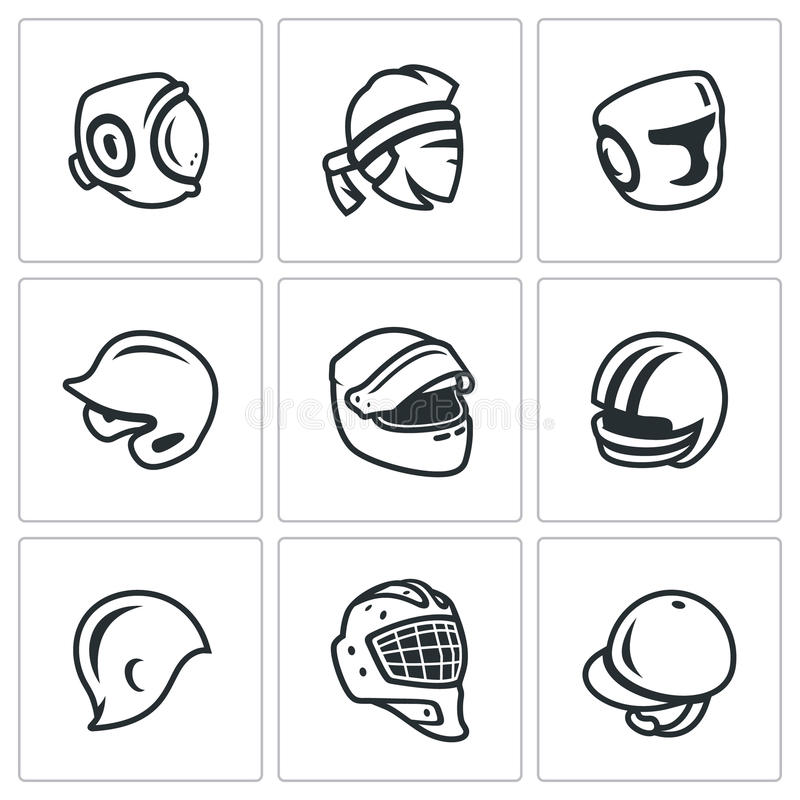 Insieme di vettore delle icone di sport cappello, del cappuccio e della fascia Kudo, tailandese di Muay, inscatolante, baseball,  illustrazione vettoriale