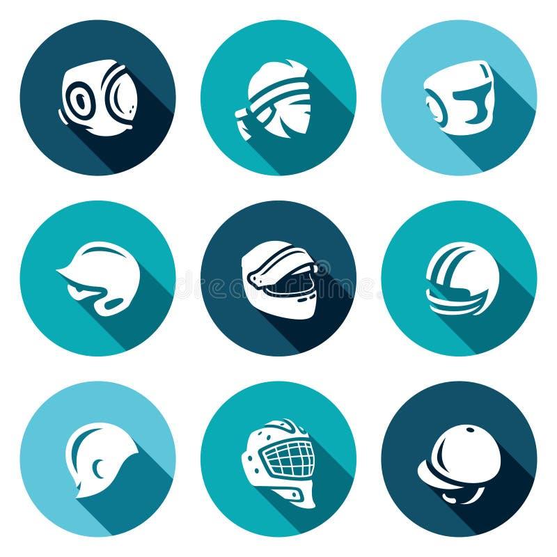 Insieme di vettore delle icone di sport cappello, del cappuccio e della fascia Kudo, tailandese di Muay, inscatolante, baseball,  royalty illustrazione gratis