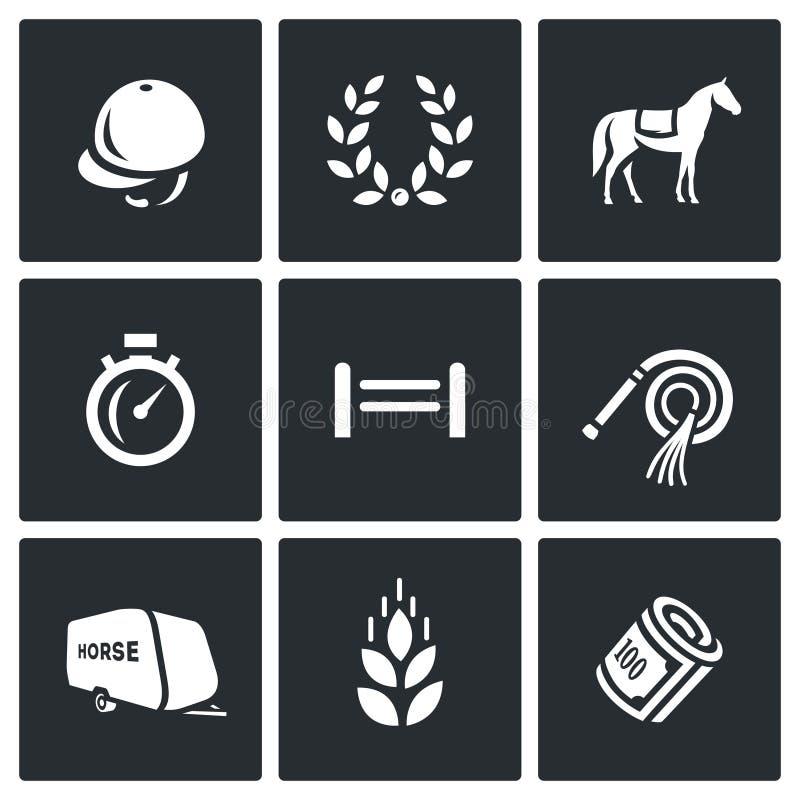 Insieme di vettore delle icone di sport equestre royalty illustrazione gratis