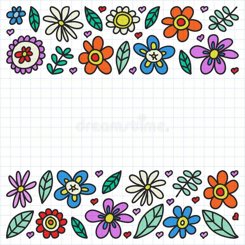 Insieme di vettore delle icone di disegno dei fiori del bambino nello stile di scarabocchio Dipinto, variopinto, su un foglio di  illustrazione di stock