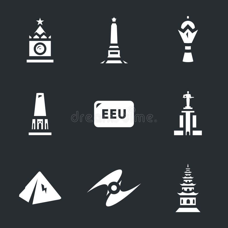 Insieme di vettore delle icone economiche euroasiatiche dei punti di riferimento dei candidati e del sindacato illustrazione di stock