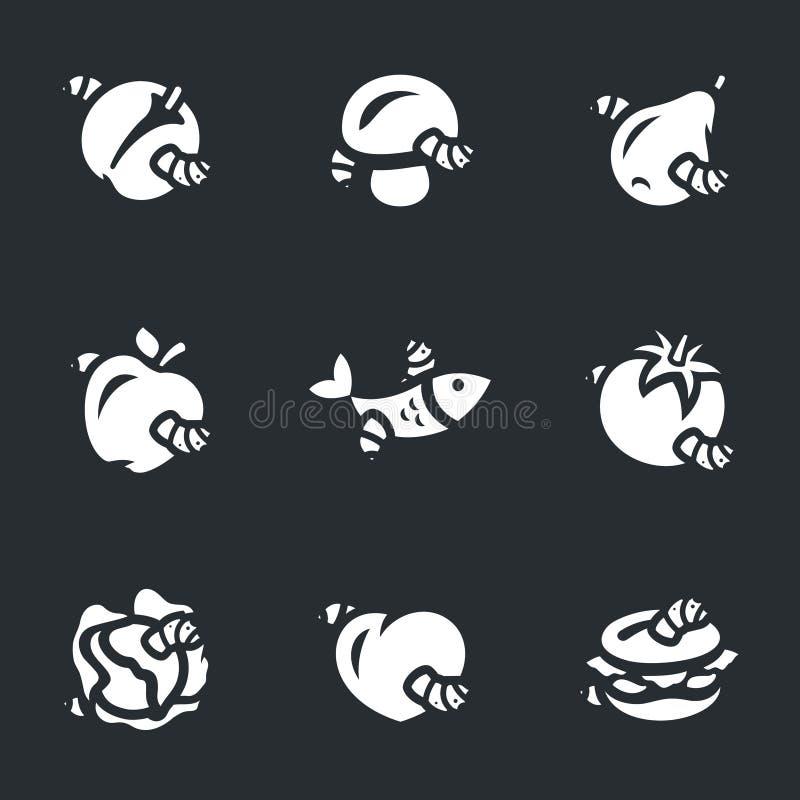 Insieme di vettore delle icone guastate dell'alimento royalty illustrazione gratis