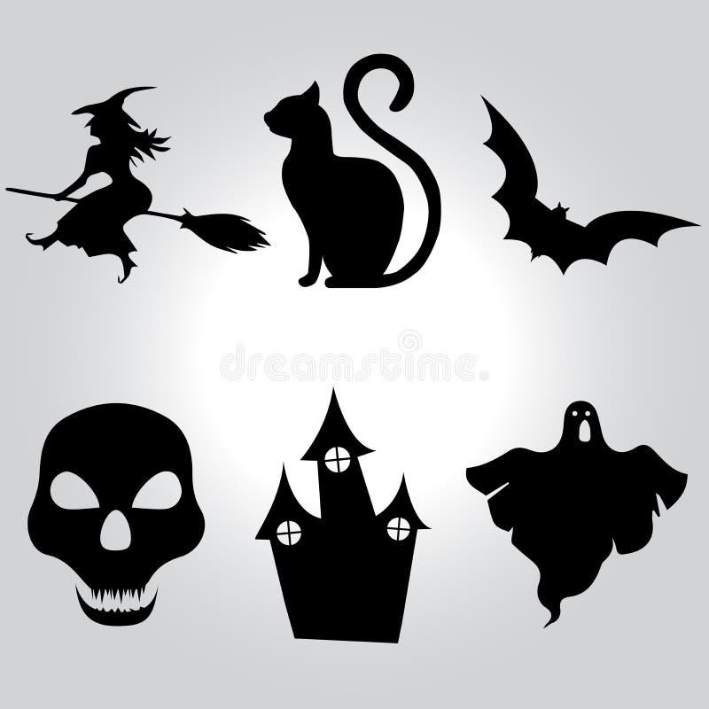 Insieme di vettore delle icone di Halloween Raccolta degli elementi di Halloween dentro illustrazione vettoriale