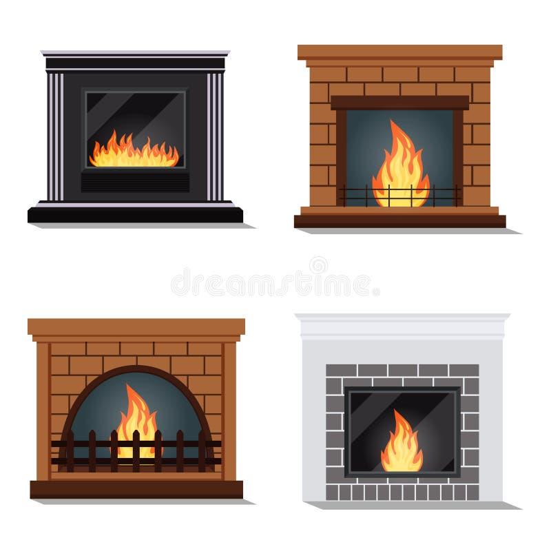 Insieme di vettore delle icone isolate del camino fireburning accogliente royalty illustrazione gratis