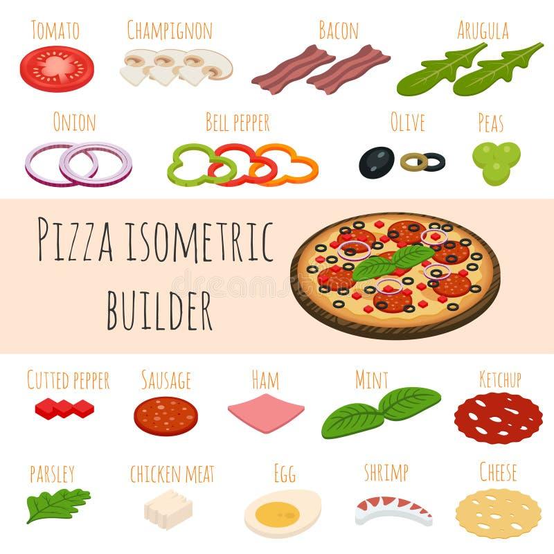 Insieme di vettore delle icone isometriche dell'alimento Ingredienti per pizza royalty illustrazione gratis