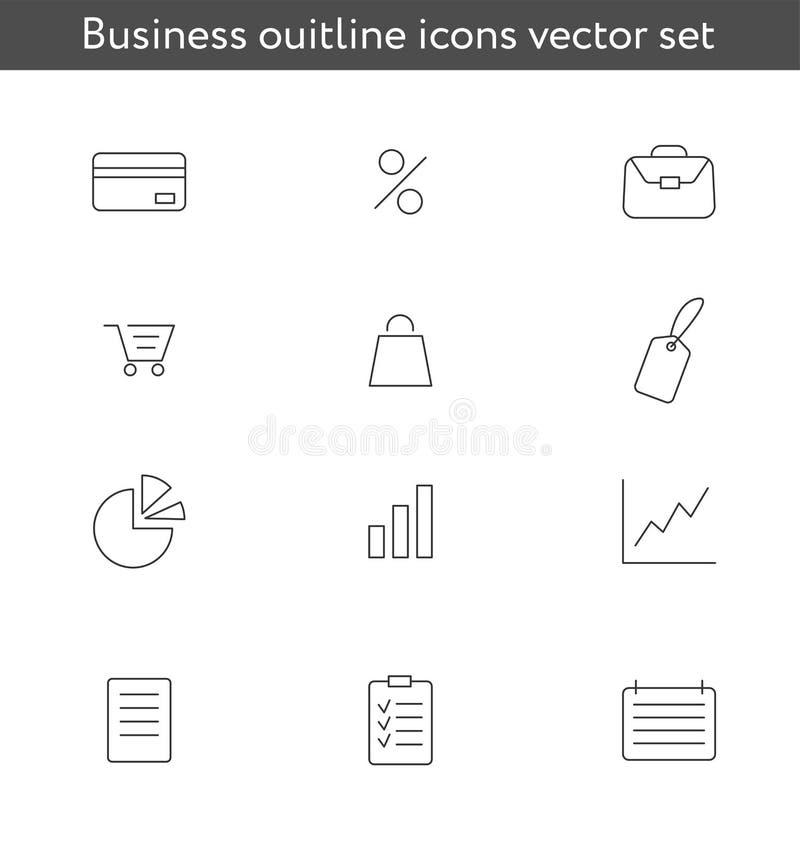Insieme di vettore delle icone delle linee di business illustrazione di stock