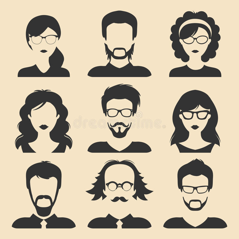 Insieme di vettore delle icone maschii e femminili differenti nello stile piano d'avanguardia Raccolta dei fronti o delle teste d royalty illustrazione gratis