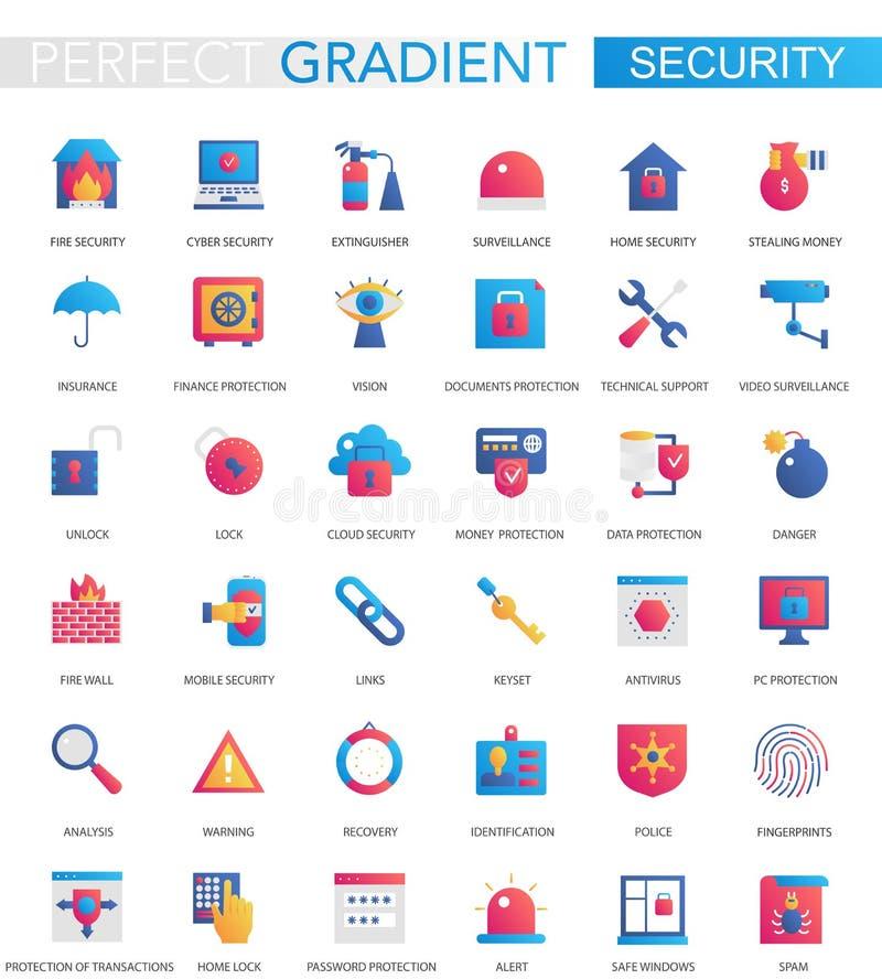 Insieme di vettore delle icone moderne di sicurezza di pendenza piana d'avanguardia illustrazione vettoriale