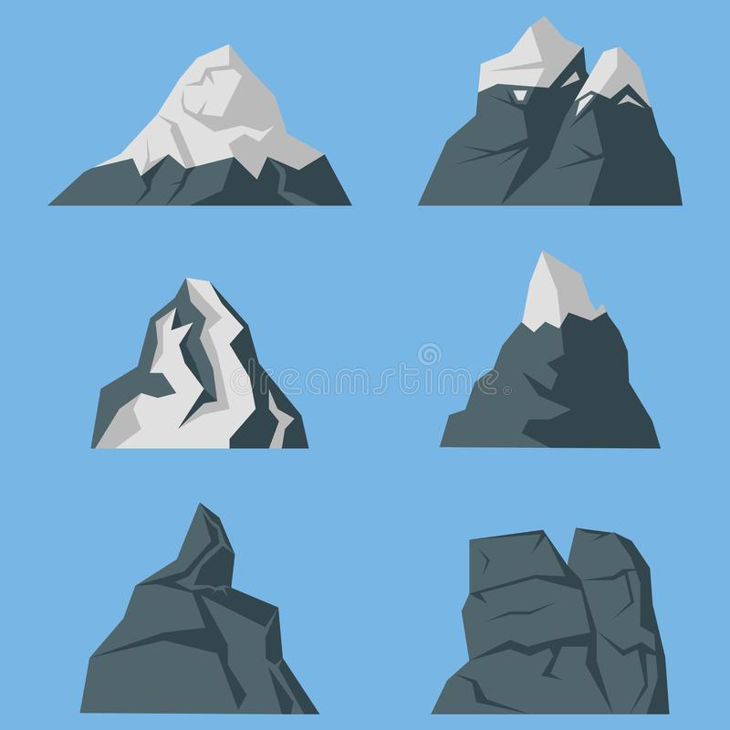 Insieme di vettore delle icone delle montagne in uno stile piano royalty illustrazione gratis