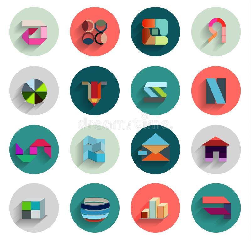 Insieme di vettore delle icone piane astratte geometriche illustrazione di stock