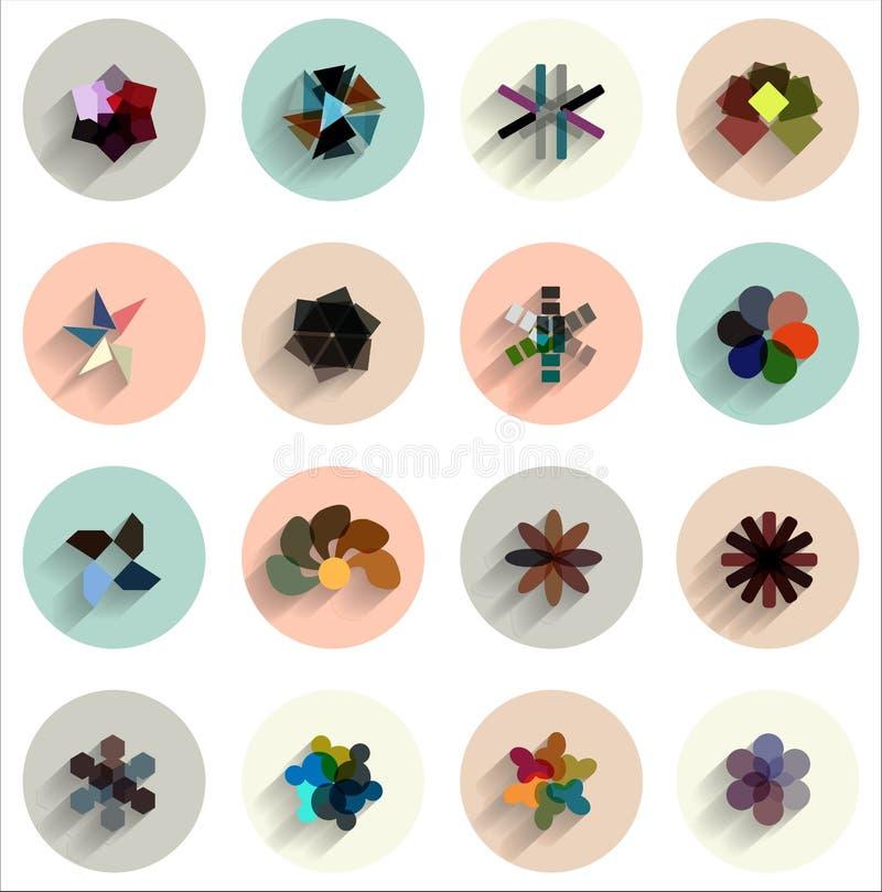 Insieme di vettore delle icone piane astratte geometriche royalty illustrazione gratis