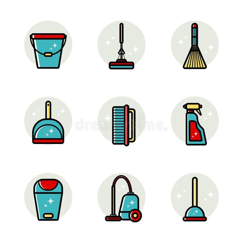 Insieme di vettore delle icone piane per gli strumenti di pulizia a casa Oggetti isolati su priorità bassa bianca Pulendo la stan royalty illustrazione gratis