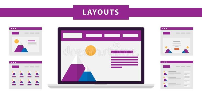 Insieme di vettore delle icone piane semplici dei modelli del sito Web su fondo blu illustrazione di stock