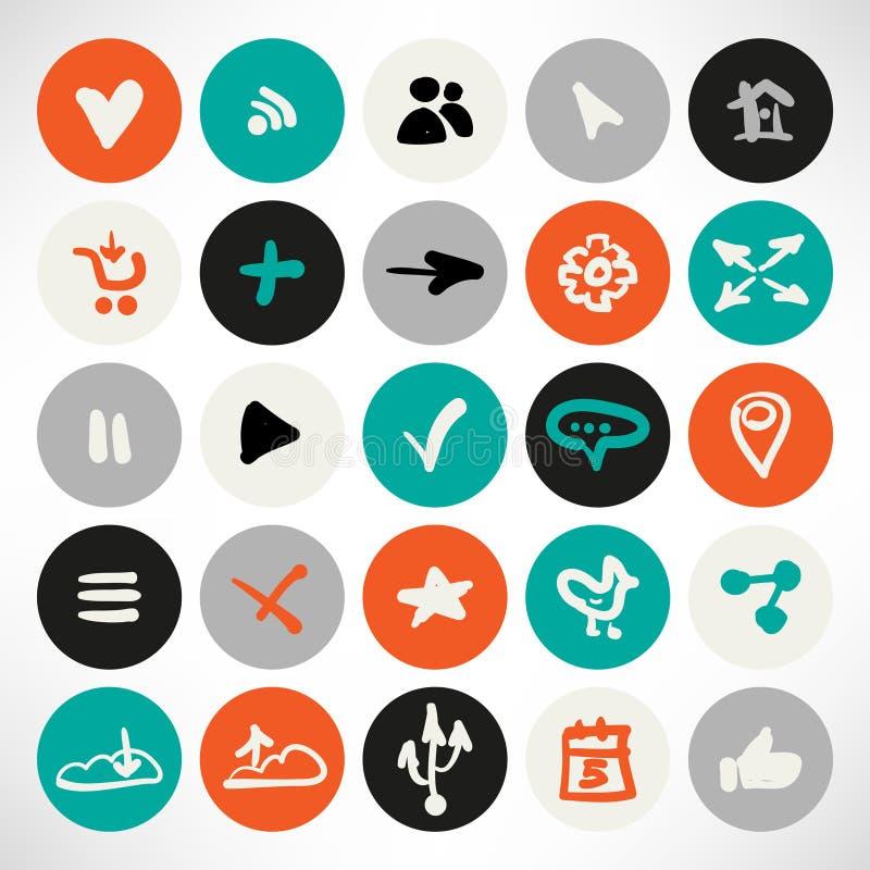 Insieme di vettore delle icone rotonde piane semplici di web illustrazione di stock