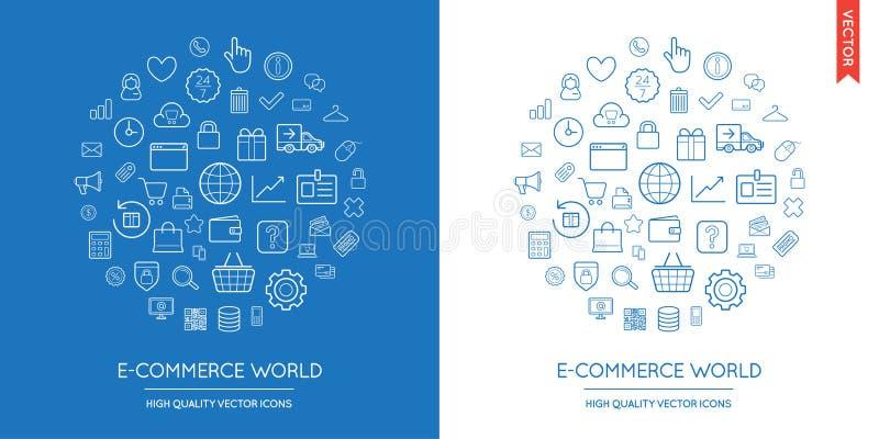 Insieme di vettore delle icone sottili piane moderne di commercio elettronico iscritte nella forma rotonda illustrazione di stock