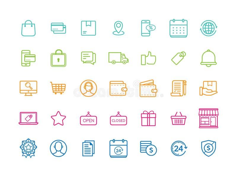 Insieme di vettore delle icone sottili piane moderne di commercio elettronico illustrazione di stock