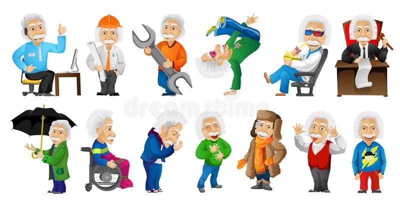 Insieme di vettore delle illustrazioni dai capelli grigi dell'uomo anziano illustrazione di stock