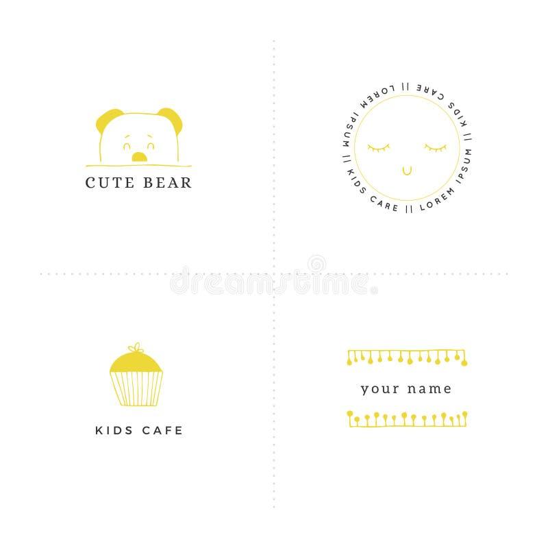 Insieme di vettore delle illustrazioni disegnate a mano I modelli di logo di Premade per i bambini hanno collegato i commerci royalty illustrazione gratis