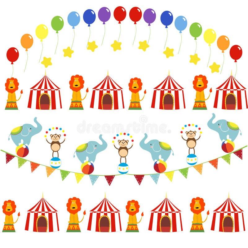 Insieme di vettore delle immagini di tema del circo sveglio illustrazione vettoriale