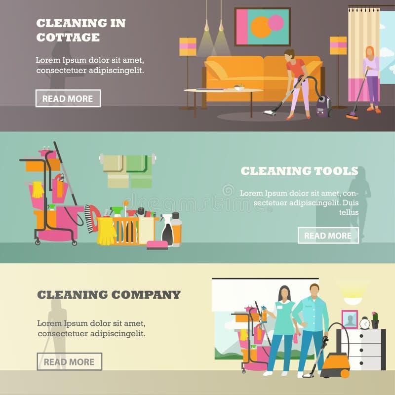Insieme di vettore delle insegne di concetto di servizio di pulizia nello stile piano illustrazione vettoriale