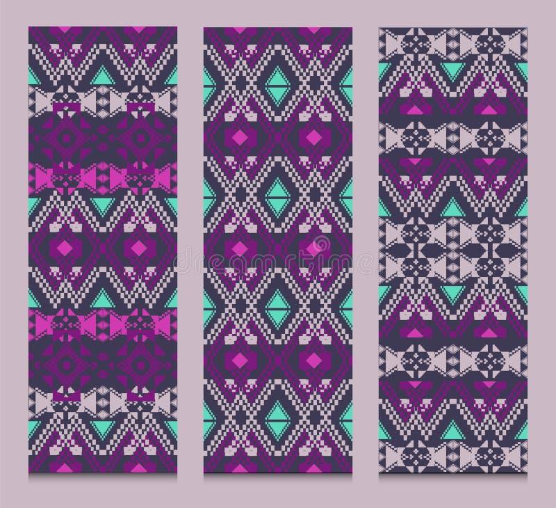 Insieme di vettore delle insegne o delle carte con i modelli decorativi tribali Stile ornamentale azteco illustrazione di stock