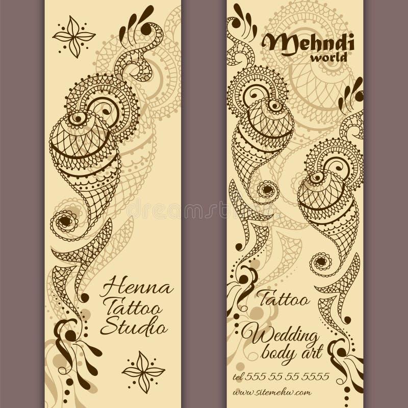 Insieme di vettore delle insegne o delle carte nello stile ornamentale indiano Ornamento di Mehndi Paisley illustrazione vettoriale
