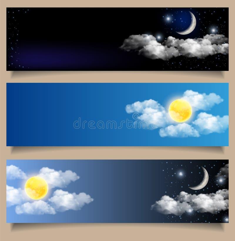 Insieme di vettore delle insegne di orizzontale di notte e di giorno illustrazione di stock