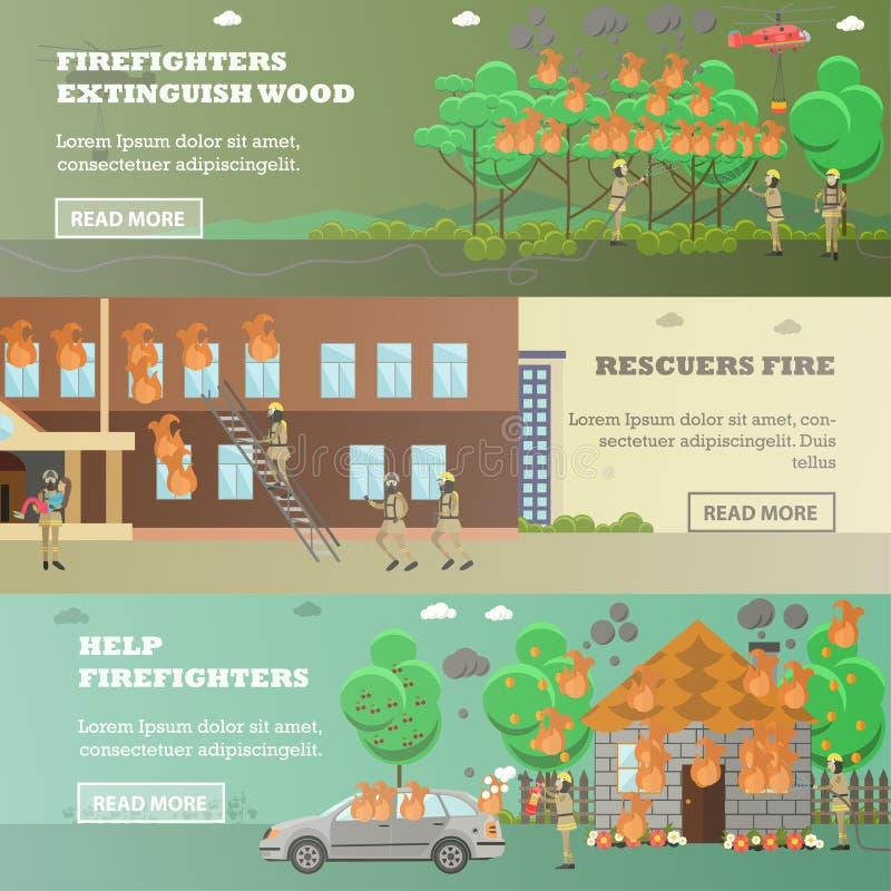 Insieme di vettore delle insegne orizzontali del fuoco nello stile piano royalty illustrazione gratis