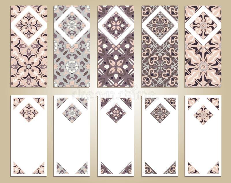 Insieme di vettore delle insegne verticali variopinte per l'affare e l'invito Portoghese, Azulejo, marocchino; Arabo; ornamenti a illustrazione di stock