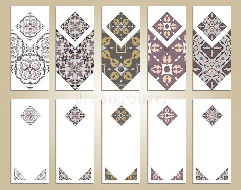 Insieme di vettore delle insegne verticali variopinte per l'affare e l'invito Portoghese, Azulejo, marocchino; Arabo; ornamenti a illustrazione vettoriale