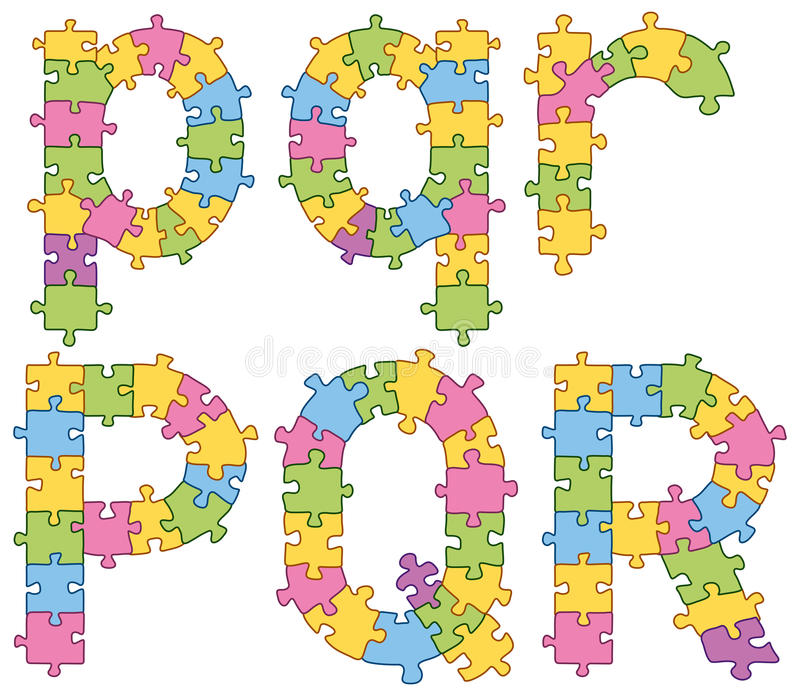 Lettere di alfabeto del puzzle di puzzle illustrazione vettoriale
