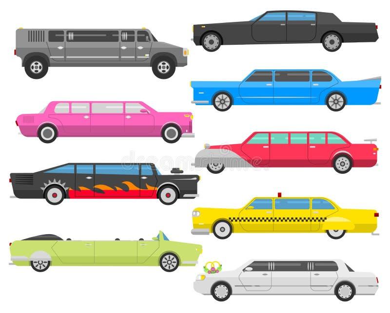 Insieme di vettore delle limousine illustrazione di stock