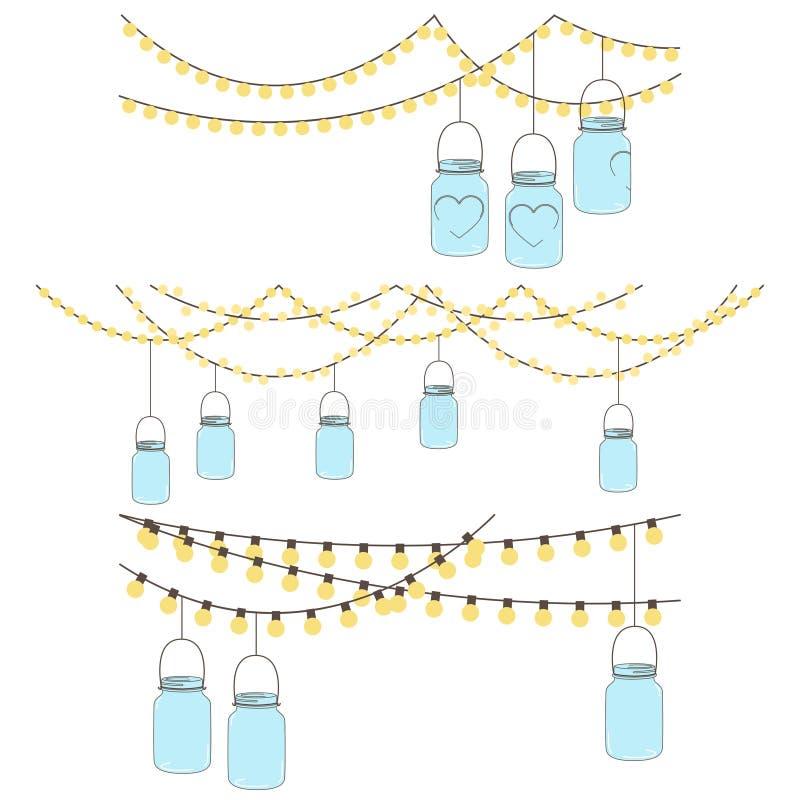 Insieme di vettore delle luci di vetro d'attaccatura del barattolo illustrazione di stock
