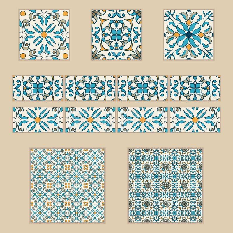 Insieme di vettore delle mattonelle e dei confini portoghesi Raccolta dei modelli colorati per progettazione e modo illustrazione di stock