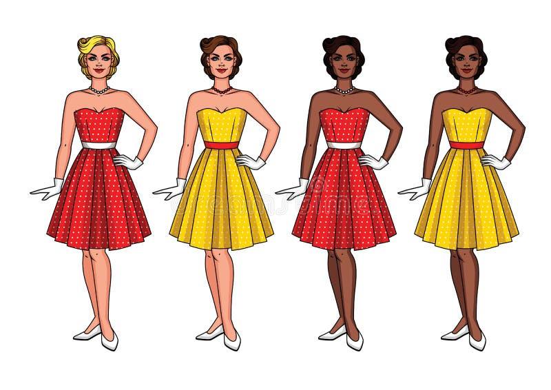 Insieme di vettore delle nazionalità differenti delle donne graziose felici in bei vestiti d'annata illustrazione di stock