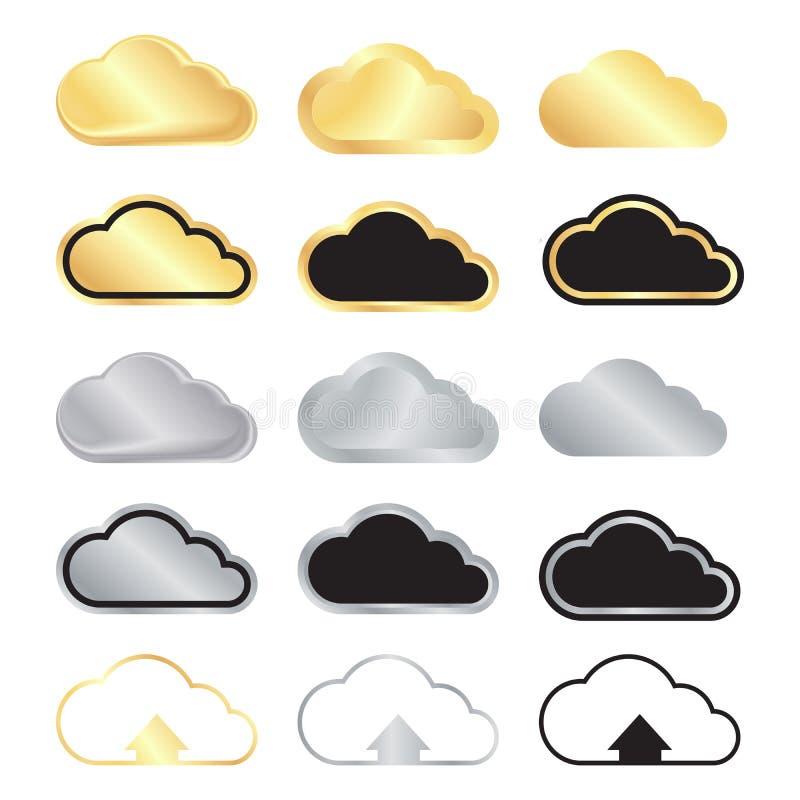 Insieme di vettore delle nuvole in bianco dell'argento e dell'oro ed il nero con oro a royalty illustrazione gratis