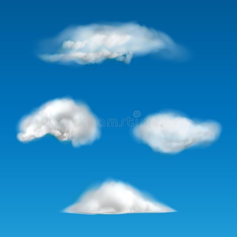 Insieme di vettore delle nuvole realistiche di varie forme royalty illustrazione gratis