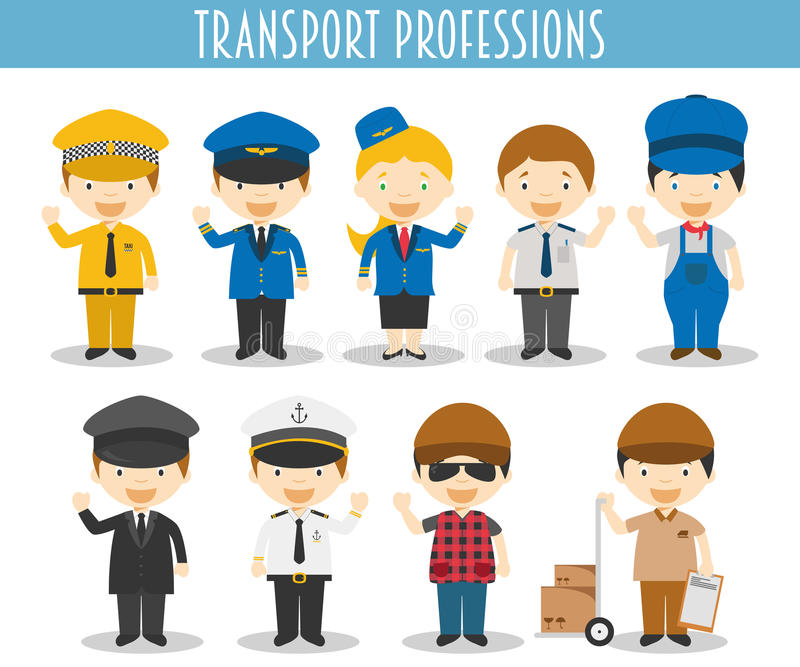 Insieme di vettore delle professioni di trasporto royalty illustrazione gratis