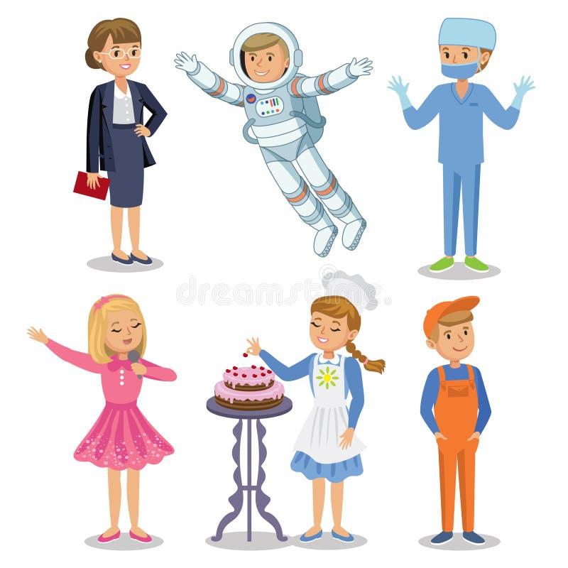 Insieme di vettore delle professioni differenti Scherza la professione royalty illustrazione gratis