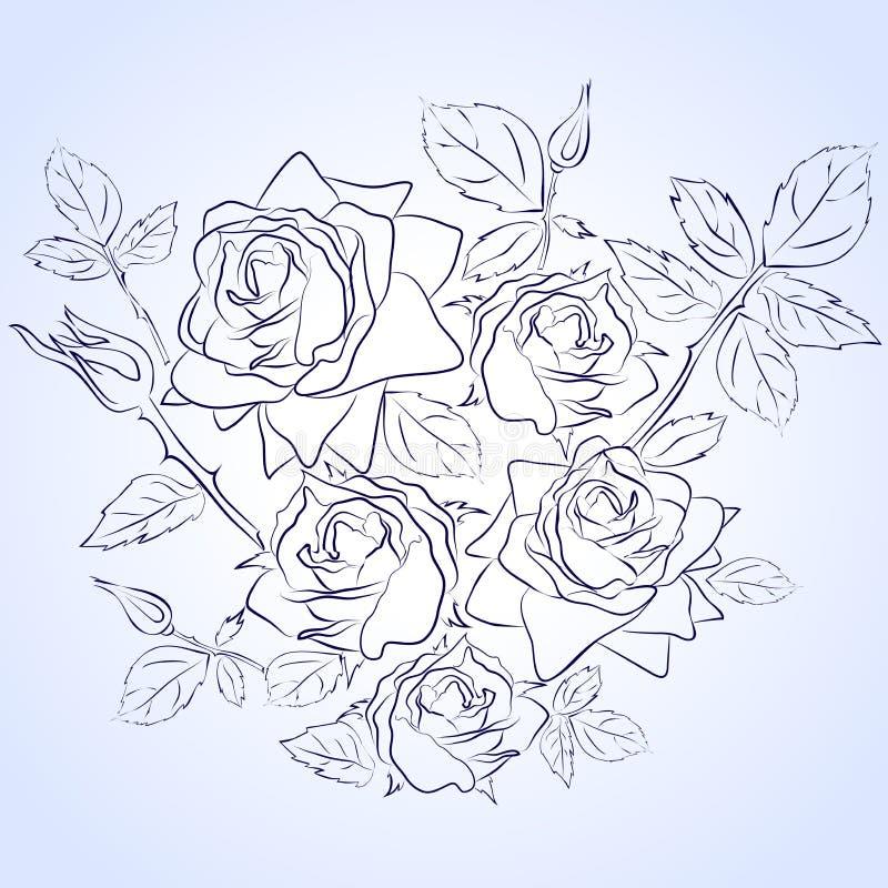 Insieme di vettore delle rose del disegno della mano della linea blu fotografie stock libere da diritti