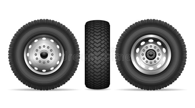 Insieme di vettore delle ruote del camion illustrazione vettoriale