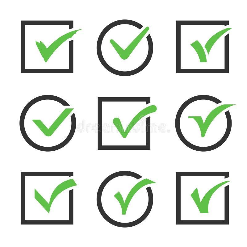 Insieme di vettore delle scatole di icona del segno di spunta illustrazione vettoriale