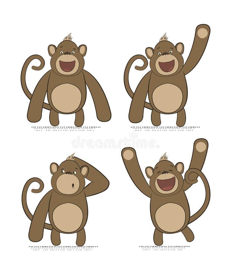 Insieme di vettore delle scimmie con differenti emozioni illustrazione di stock